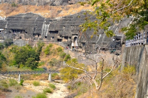 The Ajanta caves, on a cliff-face...